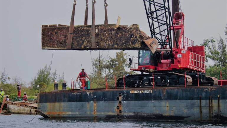 Shipwrecks and debris removed from Mullet Pond