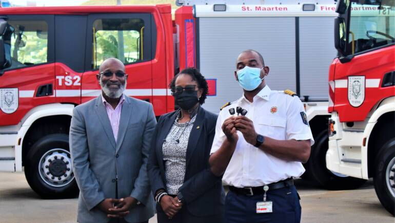 Emergency response capacity of the Sint Maarten Fire Department improved with delivery of three custom-made fire trucks